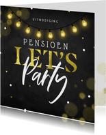 Sfeervolle uitnodiging pensioenfeest krijtbord lampjes