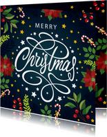 Sierlijke Merry Christmas kerstkaart
