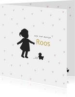 Silhouet geboortekaartje meisje met hartjes