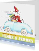 Sint en Piet in de auto