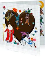 Sinterklaas kaart met chocolade hart
