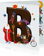 Sinterklaas kaart met chocolade letter B