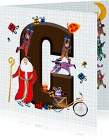 Sinterklaas kaart met chocolade-letter C