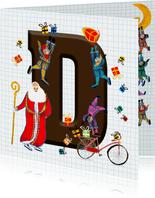 Sinterklaas kaart met chocolade-letter D