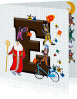Sinterklaas kaart met chocolade-letter E