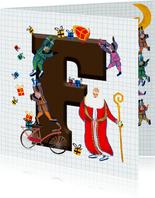 Sinterklaas kaart met chocolade-letter F