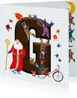 Sinterklaas kaart met chocolade-letter G