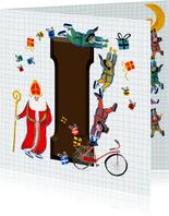 Sinterklaas kaart met chocolade-letter I