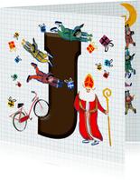 Sinterklaas kaart met chocolade-letter J