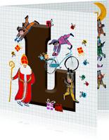Sinterklaas kaart met chocolade-letter L