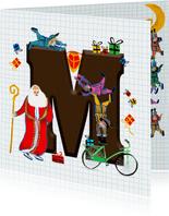 Sinterklaas kaart met chocolade-letter M