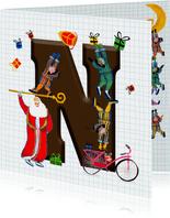 Sinterklaas kaart met chocolade-letter N