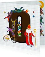 Sinterklaas kaart met chocolade-letter O