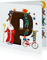 Sinterklaas kaart met chocolade-letter P
