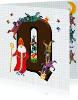 Sinterklaas kaart met chocolade-letter Q