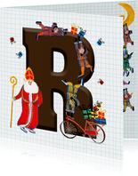 Sinterklaas kaart met chocolade-letter R