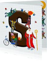 Sinterklaas kaart met chocolade-letter S