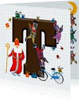 Sinterklaas kaart met chocolade-letter T