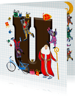 Sinterklaas kaart met chocolade-letter U