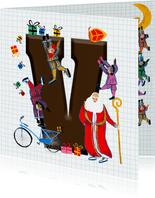 Sinterklaas kaart met chocolade-letter V