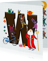Sinterklaas kaart met chocolade-letter W
