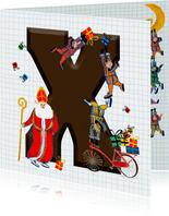 Sinterklaas kaart met chocolade-letter X