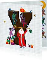 Sinterklaas kaart met chocolade-letter Y