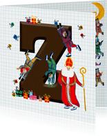 Sinterklaas kaart met chocolade-letter Z