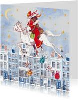 Sinterklaas Zwarte Piet Huis Illustratie