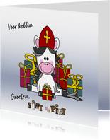 Sinterklaaskaart lief paardje met een mijter en cadeaus
