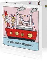 Sinterklaaskaart met stoomboot en sint en piet
