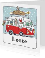 Sinterklaaskaart sint met pieten in volkswagenbusje
