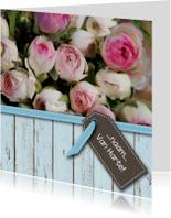 Sloophout blauw met rozen roze