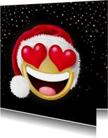 Smiley met hartjes als ogen en kerstmuts op