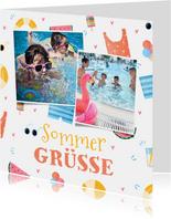 Sommerliche Urlaubskarte 2 Fotos und tropisches Muster