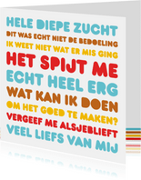 Sorry Letters Diepe Zucht