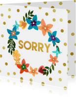 Sorry met bloemen en gouden stippen