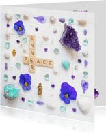Spreukenkaart innerlijke rust met amethist en viooltjes