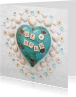 Spreukenkaart open je hart met edelstenen en madeliefjes