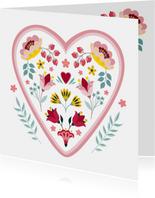 Sterkte en medeleven wenskaart met hart en bloemen