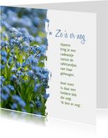 Sterkte Gedicht over Alzheimer met vergeet-me-nietjes