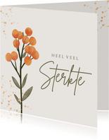 Sterkte kaart bloemen oranje goud spetters