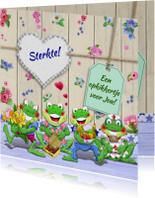 Sterkte kaart met bloempjes en kikkers