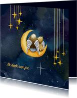 Sterkte kaarten meisje en beer op maan