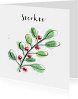 Sterkte kaarten tak met blad en bessen
