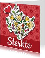 Sterkte kaarten - Sterkte met bloemen en hart
