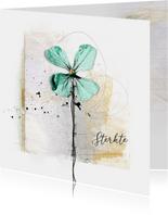 Sterktekaart aqua bloem creatief