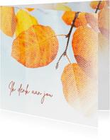 Sterktekaart bladeren achter sluier