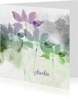 Sterktekaart paars groen bloemen