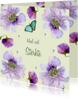 Sterktekaart Paarse bloemen